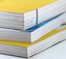 Photograph of stack of directories