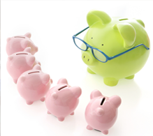 Photograph of piggy bank with glasses teaching other piggy banks